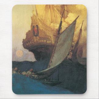 Mousepad Pirata do vintage, ataque em um Galleon por Howard