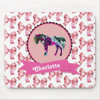 Mousepad Pônei moderno cor-de-rosa bonito personalizado