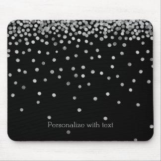 Mousepad Pontos de prata e pretos dos confetes da aguarela