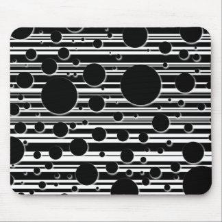 Mousepad Pontos e listras preto e branco