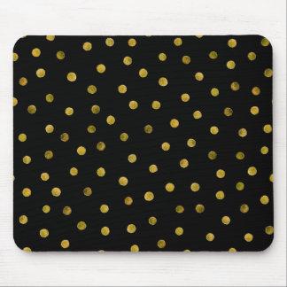 Mousepad Pontos elegantes dos confetes da folha do preto e