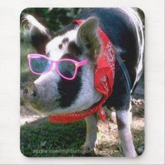 Mousepad Porco com óculos de sol e Bandana