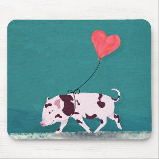 Mousepad Porco do bebê com balão do coração