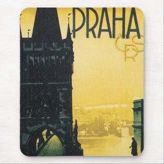 Mousepad Poster das viagens vintage de Praga