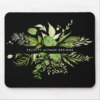 Mousepad Prado selvagem | preto & botânico verde