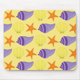 Mousepad Praia amarela da estrela do mar do Conch de Shell