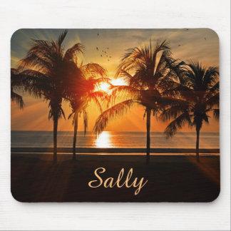 Mousepad Praia bonita das palmeiras no por do sol