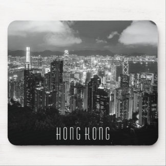 Mousepad Preto & branco da opinião da noite de Hong Kong