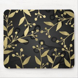 Mousepad Preto & ramos rústicos modernos botânicos do ouro