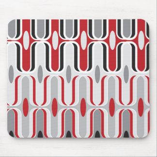 Mousepad Preto vermelho do teste padrão Funky retro do