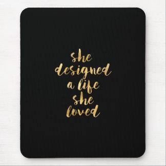 Mousepad Projetou uma vida onde amou com folha de ouro do