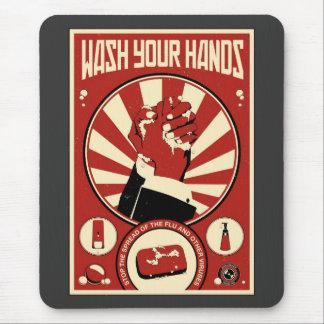 Mousepad Propaganda do escritório: Lave suas mãos
