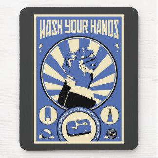 Mousepad Propaganda do escritório: Lave suas mãos (azuis)