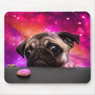 Mousepad pug do espaço - comida do pug - biscoito do pug