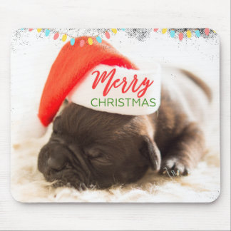 Mousepad Pug do Natal no chapéu do papai noel com luzes de