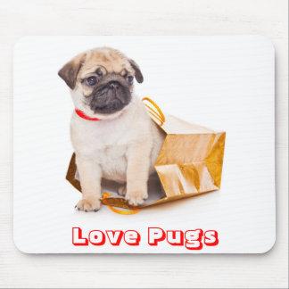 Mousepad Pugs do amor, cão de filhote de cachorro do Pug em