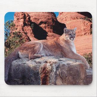Mousepad Puma que descansa na rocha -