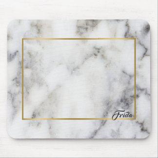 Mousepad Quadro de pedra de mármore branco & cinzento da