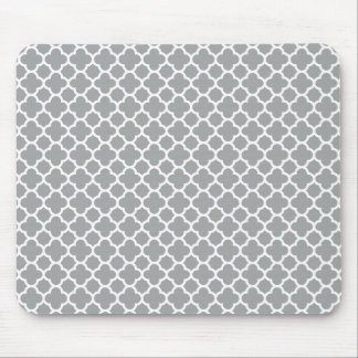 Mousepad Quatrefoil cinzento e branco