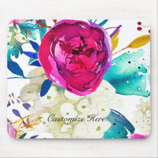 Mousepad Respingo floral da cor da aguarela corajosa