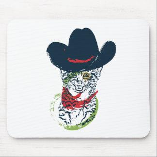 Mousepad Retrato 2 do gato do vaqueiro do Grunge
