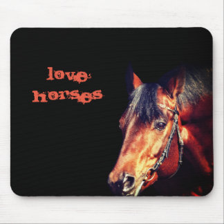 Mousepad retrato do cavalo no preto
