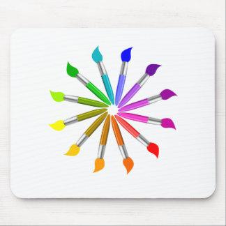 Mousepad Roda de cor da escova de pintura, teoria da cor do