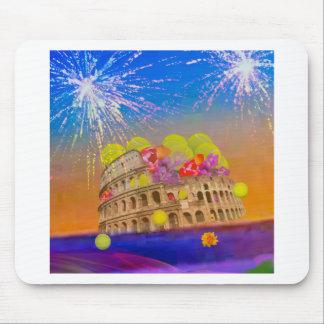 Mousepad Roma comemora a estação com bolas de tênis, flores