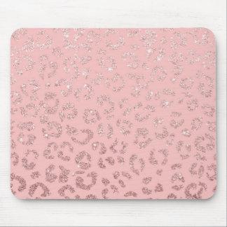 Mousepad Rosa cor-de-rosa do ombre do leopardo do brilho do