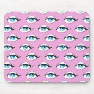 Mousepad Rosa do teste padrão de olhos azuis