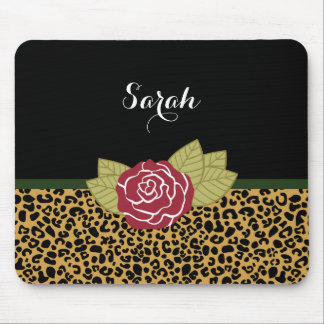 Mousepad Rosa vermelha chique do impressão do leopardo do