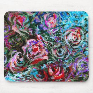 Mousepad Rosas abstratos no vermelho e na turquesa -