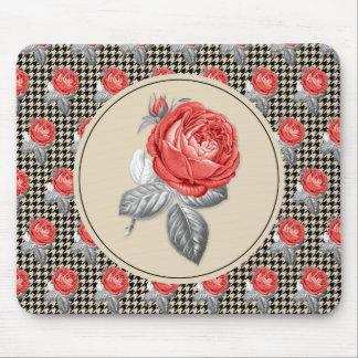Mousepad Rosas do vintage e teste padrão cor-de-rosa do
