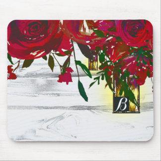 Mousepad Rosas & lanterna vermelhos românticos da aguarela