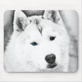 Mousepad Rouco Siberian branco com esboço das belas artes