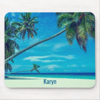 Mousepad Sandy Beach branco com palmas de coco