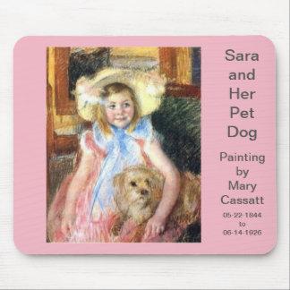 Mousepad Sara com o cão de estimação por Mary Cassatt