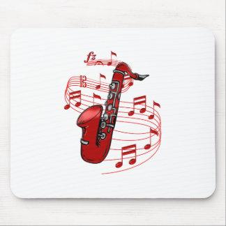 Mousepad Saxofone vermelho com notas da música