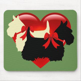 Mousepad Scottish Terrier/silhueta dos terrier, verde da