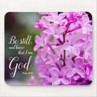 Mousepad Seja ainda flores roxas do Lilac do 46:10 do salmo