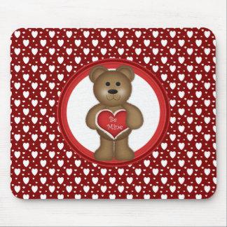 Mousepad Seja meu, urso estando dos namorados, corações,