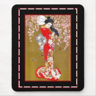 Mousepad Senhora japonesa poster vintage da gueixa da arte