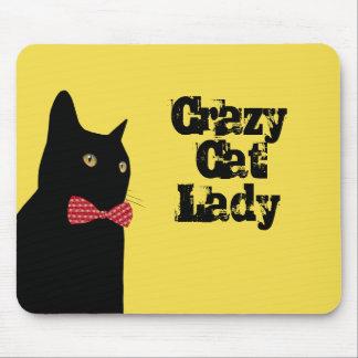 Mousepad Senhora louca do gato - gato preto com laço