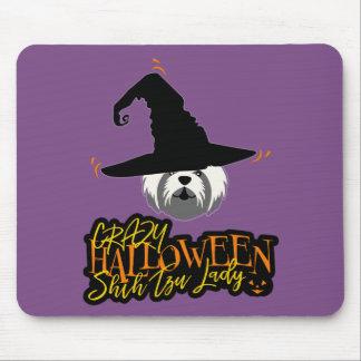 Mousepad Senhora louca Shih Tzu Mamã do Dia das Bruxas Shih