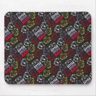Mousepad Senhorita pequena Mau teste padrão preto, vermelho