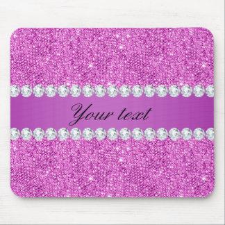 Mousepad Sequins roxos chiques e diamantes do falso