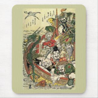 Mousepad Sete deuses de belas artes de Hokusai da boa