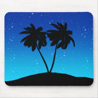 Mousepad Silhueta da palmeira em nivelar o azul com