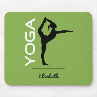Mousepad Silhueta da pose da ioga no verde personalizado