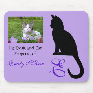 Mousepad Silhueta de assento do gato: Mesa de
